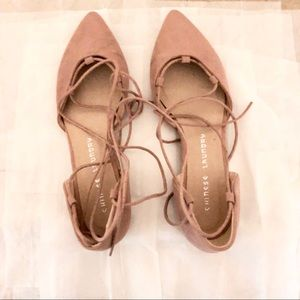 NEW blush pink suede lace up ballet flats
